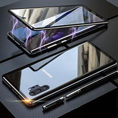 Samsung Galaxy Note 10 Plus 5G用ケース 高級感 手触り良い アルミメタル 製の金属製 360度 フルカバーバンパー 鏡面 カバー M01 サムスン ブラック