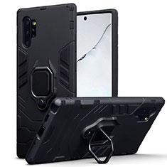 Samsung Galaxy Note 10 Plus 5G用ハイブリットバンパーケース スタンド プラスチック 兼シリコーン カバー マグネット式 A03 サムスン ブラック