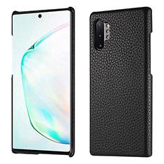 Samsung Galaxy Note 10 Plus 5G用ケース 高級感 手触り良いレザー柄 P01 サムスン ブラック