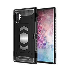 Samsung Galaxy Note 10 Plus 5G用ハイブリットバンパーケース プラスチック 兼シリコーン カバー マグネット式 サムスン ブラック