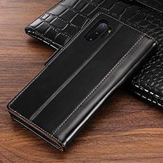 Samsung Galaxy Note 10 Plus 5G用手帳型 レザーケース スタンド カバー P01 サムスン ブラック