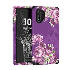 Samsung Galaxy Note 10 Plus 5G用ハイブリットバンパーケース プラスチック 兼シリコーン カバー 前面と背面 360度 フル サムスン パープル