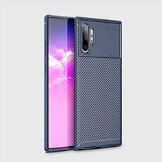 Samsung Galaxy Note 10 Plus用シリコンケース ソフトタッチラバー ツイル カバー サムスン ネイビー