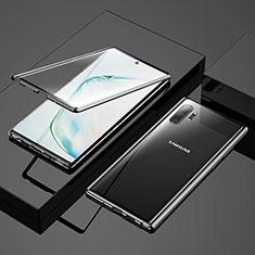 Samsung Galaxy Note 10 Plus用ケース 高級感 手触り良い アルミメタル 製の金属製 360度 フルカバーバンパー 鏡面 カバー M03 サムスン ブラック