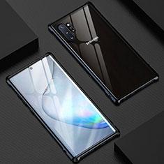Samsung Galaxy Note 10 Plus用ケース 高級感 手触り良い アルミメタル 製の金属製 360度 フルカバーバンパー 鏡面 カバー M04 サムスン ブラック