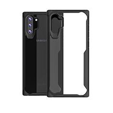 Samsung Galaxy Note 10 Plus用ハイブリットバンパーケース クリア透明 プラスチック 鏡面 カバー M03 サムスン ブラック