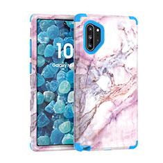Samsung Galaxy Note 10 Plus用ハイブリットバンパーケース プラスチック 兼シリコーン カバー 前面と背面 360度 フル U01 サムスン ネイビー