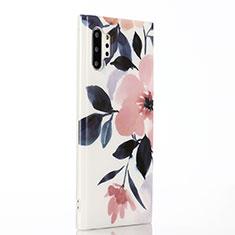 Samsung Galaxy Note 10 Plus用シリコンケース ソフトタッチラバー 花 カバー S03 サムスン ピンク