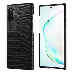 Samsung Galaxy Note 10 Plus用ケース 高級感 手触り良いレザー柄 P02 サムスン ブラック