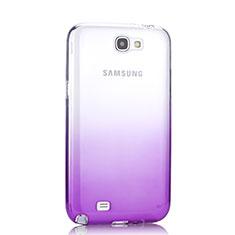 Samsung Galaxy Note 2 N7100 N7105用極薄ソフトケース グラデーション 勾配色 クリア透明 サムスン パープル
