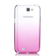 Samsung Galaxy Note 2 N7100 N7105用極薄ソフトケース グラデーション 勾配色 クリア透明 サムスン ピンク
