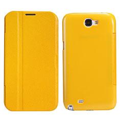 Samsung Galaxy Note 2 N7100 N7105用手帳型 レザーケース スタンド サムスン イエロー