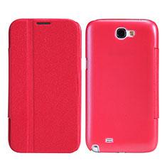 Samsung Galaxy Note 2 N7100 N7105用手帳型 レザーケース スタンド サムスン レッド