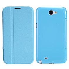 Samsung Galaxy Note 2 N7100 N7105用手帳型 レザーケース スタンド サムスン ブルー