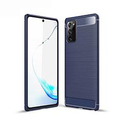 Samsung Galaxy Note 20 5G用シリコンケース ソフトタッチラバー ライン カバー サムスン ネイビー