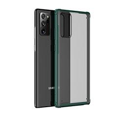 Samsung Galaxy Note 20 5G用ハイブリットバンパーケース クリア透明 プラスチック 鏡面 カバー サムスン グリーン