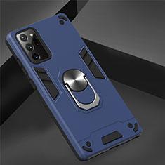 Samsung Galaxy Note 20 5G用ハイブリットバンパーケース プラスチック アンド指輪 マグネット式 サムスン ネイビー