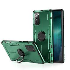 Samsung Galaxy Note 20 5G用ハイブリットバンパーケース プラスチック アンド指輪 マグネット式 R01 サムスン グリーン