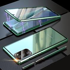 Samsung Galaxy Note 20 5G用ケース 高級感 手触り良い アルミメタル 製の金属製 360度 フルカバーバンパー 鏡面 カバー T01 サムスン グリーン