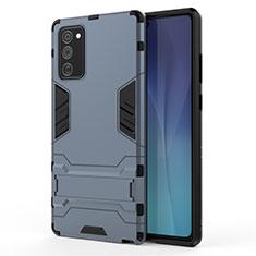 Samsung Galaxy Note 20 5G用ハイブリットバンパーケース スタンド プラスチック 兼シリコーン カバー N01 サムスン ネイビー