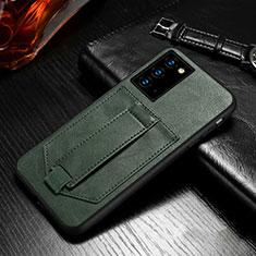 Samsung Galaxy Note 20 5G用手帳型 レザーケース スタンド カバー N08 サムスン モスグリー
