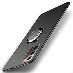 Samsung Galaxy Note 20 5G用ハードケース プラスチック 質感もマット アンド指輪 マグネット式 P01 サムスン ブラック