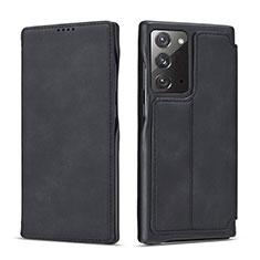 Samsung Galaxy Note 20 5G用手帳型 レザーケース スタンド カバー N09 サムスン ブラック