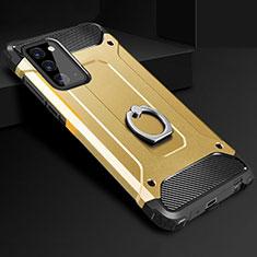 Samsung Galaxy Note 20 5G用ハイブリットバンパーケース プラスチック アンド指輪 兼シリコーン カバー N01 サムスン ゴールド