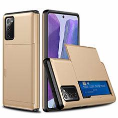 Samsung Galaxy Note 20 5G用ハイブリットバンパーケース プラスチック 兼シリコーン カバー 前面と背面 360度 フル N01 サムスン ゴールド