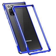 Samsung Galaxy Note 20 5G用ケース 高級感 手触り良い アルミメタル 製の金属製 バンパー カバー N01 サムスン ネイビー