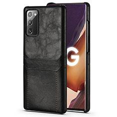 Samsung Galaxy Note 20 5G用ケース 高級感 手触り良いレザー柄 N02 サムスン ブラック