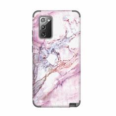 Samsung Galaxy Note 20 5G用ハイブリットバンパーケース プラスチック 兼シリコーン カバー 前面と背面 360度 フル N02 サムスン グレー