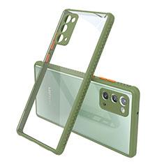 Samsung Galaxy Note 20 5G用ハイブリットバンパーケース クリア透明 プラスチック 鏡面 カバー N02 サムスン オリーブグリーン