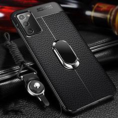 Samsung Galaxy Note 20 5G用シリコンケース ソフトタッチラバー レザー柄 アンド指輪 マグネット式 N02 サムスン ブラック