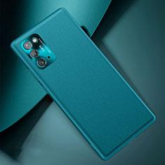 Samsung Galaxy Note 20 5G用ケース 高級感 手触り良いレザー柄 N01 サムスン シアン