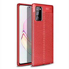 Samsung Galaxy Note 20 Plus 5G用シリコンケース ソフトタッチラバー レザー柄 カバー サムスン レッド