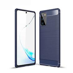 Samsung Galaxy Note 20 Plus 5G用シリコンケース ソフトタッチラバー ライン カバー サムスン ネイビー