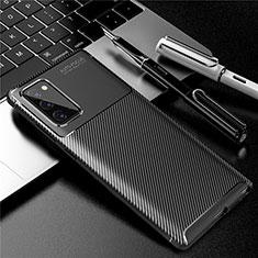 Samsung Galaxy Note 20 Plus 5G用シリコンケース ソフトタッチラバー ツイル カバー サムスン ブラック