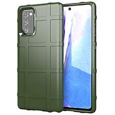 Samsung Galaxy Note 20 Plus 5G用360度 フルカバー極薄ソフトケース シリコンケース 耐衝撃 全面保護 バンパー サムスン グリーン