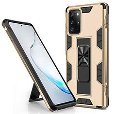 Samsung Galaxy Note 20 Plus 5G用ハイブリットバンパーケース スタンド プラスチック 兼シリコーン カバー マグネット式 サムスン ゴールド
