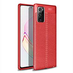 Samsung Galaxy Note 20 Ultra 5G用シリコンケース ソフトタッチラバー レザー柄 カバー サムスン レッド