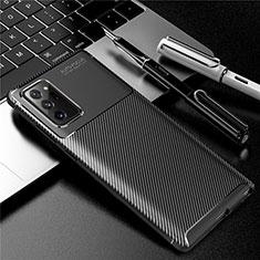 Samsung Galaxy Note 20 Ultra 5G用シリコンケース ソフトタッチラバー ツイル カバー サムスン ブラック