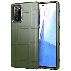 Samsung Galaxy Note 20 Ultra 5G用360度 フルカバー極薄ソフトケース シリコンケース 耐衝撃 全面保護 バンパー サムスン グリーン