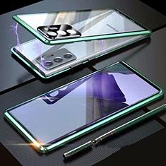 Samsung Galaxy Note 20 Ultra 5G用ケース 高級感 手触り良い アルミメタル 製の金属製 360度 フルカバーバンパー 鏡面 カバー T01 サムスン グリーン