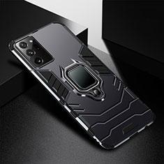 Samsung Galaxy Note 20 Ultra 5G用ハイブリットバンパーケース プラスチック アンド指輪 マグネット式 R02 サムスン ブラック