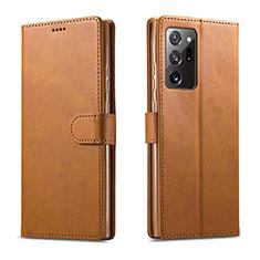 Samsung Galaxy Note 20 Ultra 5G用手帳型 レザーケース スタンド カバー N08 サムスン ライト・ブラウン