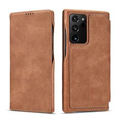 Samsung Galaxy Note 20 Ultra 5G用手帳型 レザーケース スタンド カバー N09 サムスン ライト・ブラウン