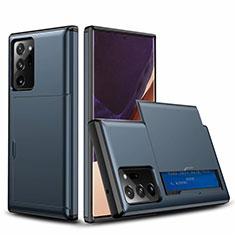 Samsung Galaxy Note 20 Ultra 5G用ハイブリットバンパーケース プラスチック 兼シリコーン カバー 前面と背面 360度 フル N01 サムスン ネイビー