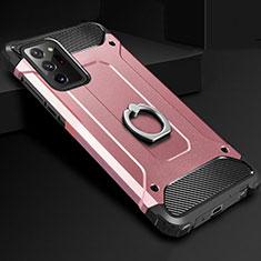 Samsung Galaxy Note 20 Ultra 5G用ハイブリットバンパーケース プラスチック アンド指輪 兼シリコーン カバー N01 サムスン ローズゴールド