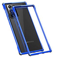 Samsung Galaxy Note 20 Ultra 5G用ケース 高級感 手触り良い アルミメタル 製の金属製 バンパー カバー N01 サムスン ネイビー